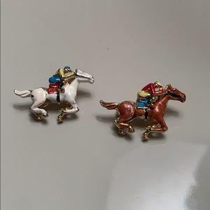 Vintage mini horseback pins